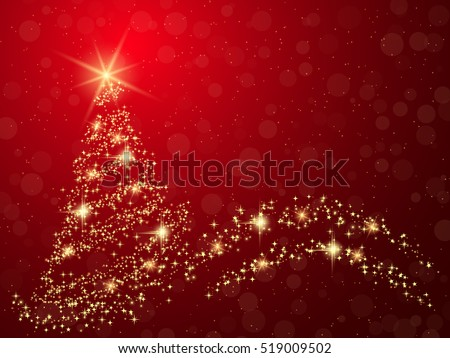 Christmas and New Year red vector background with abstract shining fir tree