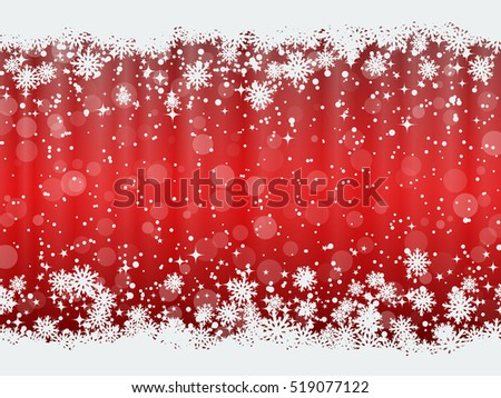 Christmas and New Year red vector background with snowflakes and stars