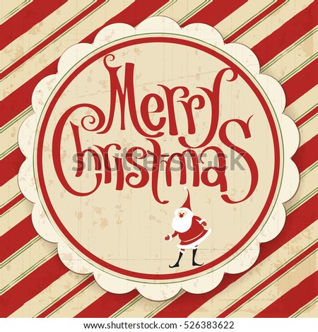 Christmas and New Year retro vintage calligraphic greeting card with Santa vector template