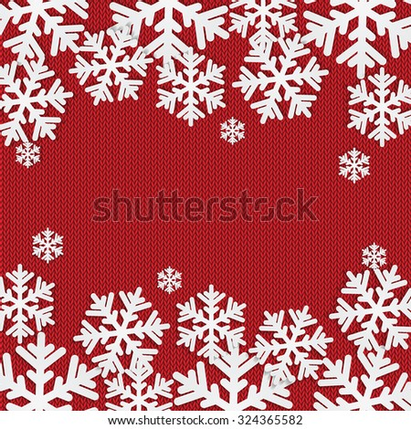 Christmas and New Year's background with place for your text.White snowflakes on a red knitted background - stock vector