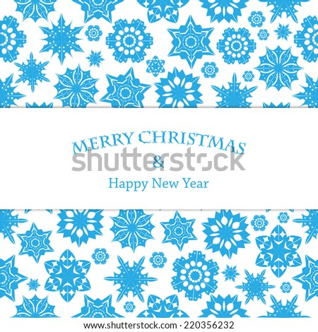 Christmas and New Year's background with snowflakes and place for your text  - stock vector
