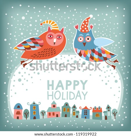 Christmas and New Year's card. Owl is flying over town. Season's greetings - stock vector