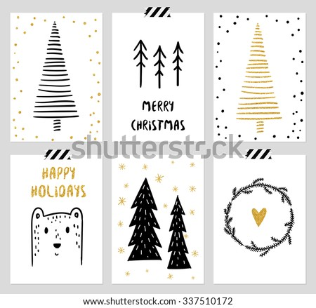 Christmas and New Year's 6 Cards Collection. Set of Winter Holiday card templates. Christmas Posters set. Vector illustration. Template for Greeting Scrapbooking, Congratulations, Invitations, Tags. - stock vector