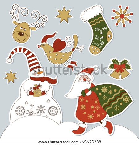 Christmas and new year's elements - stock vector