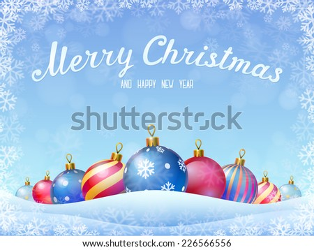 """Christmas and New Year""""s greeting Card - stock vector"""