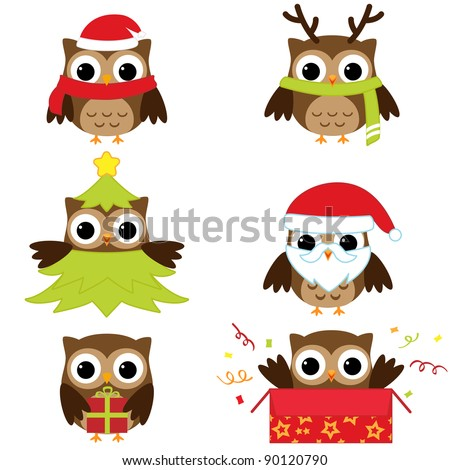 Christmas and New Year's owls in funny costumes - vector set - stock vector