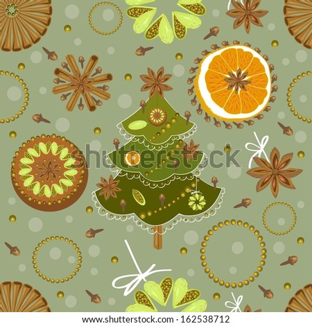 Christmas and New Year's pattern - stock vector