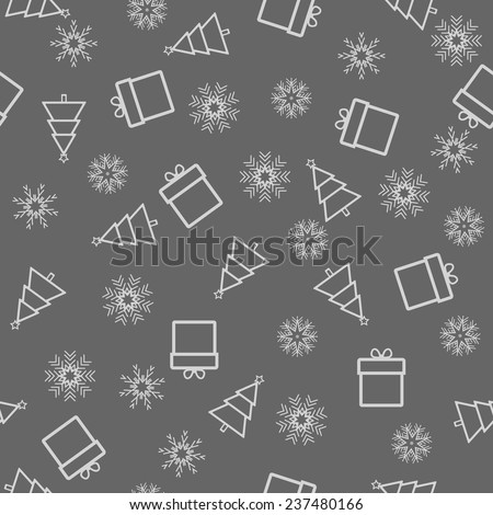 Christmas and New Year seamless gray pattern. Vector Illustration - stock vector