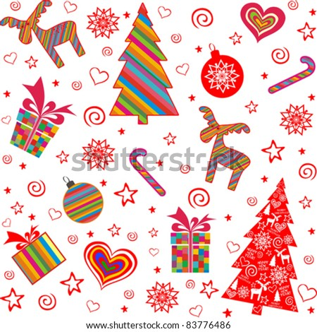 Christmas and New Year seamless pattern. Vector illustration