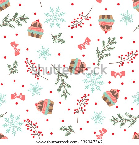 Christmas and New Year seamless pattern with cupcakes. Vector illustration