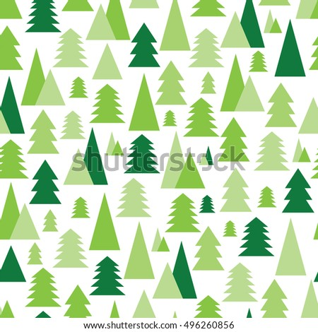 Christmas and New Year seamless pattern with green trees on a white background.Pattern with Christmas trees for your design