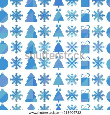 Christmas and New Year seamless pattern with snowflakes, Christmas trees and Christmas toys - stock vector