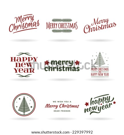 Christmas and New Year. Set of calligraphic and typographic elements, vintage labels (1) - stock vector