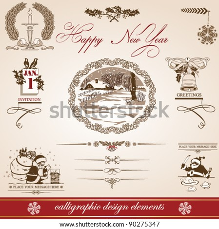 Christmas and New Year. set of vector decorative, calligraphic elements, antique and vintage jewelry, banners, text, separators, with snowflakes and stars design. silhouette of Santa Claus. landscape - stock vector