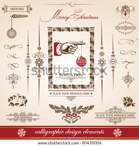 Christmas and New Year. set of vector decorative, calligraphic elements, antique and vintage jewelry, banners, text, separators, with snowflakes and stars design. Santa Claus. - stock vector