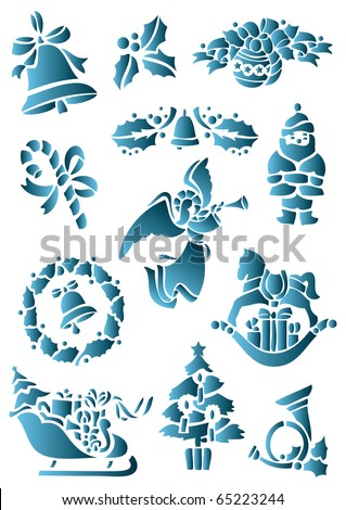 Christmas and New Year set. Vector file. - stock vector