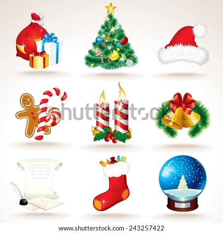 Christmas and New Year Symbols. Vector Set - stock vector
