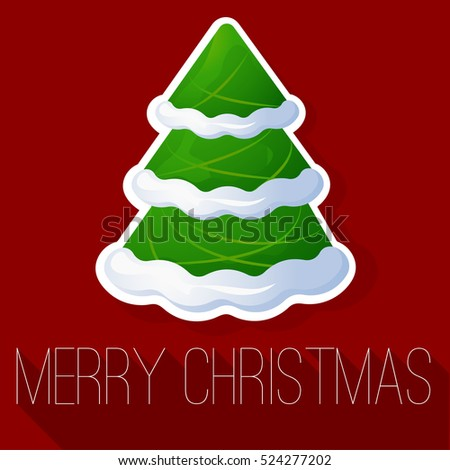Christmas and New Year tree greeting card vector template with Christmas tree decorated with snow.