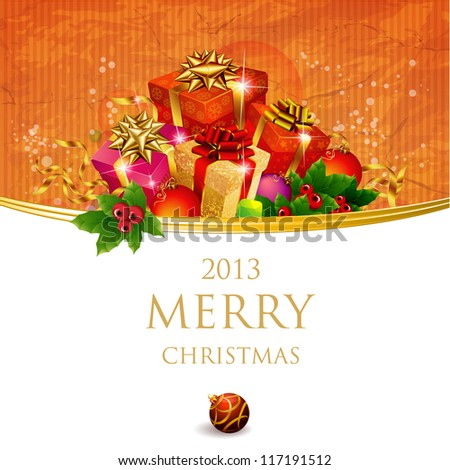 Christmas and New Year. Vector greeting card template. - stock vector