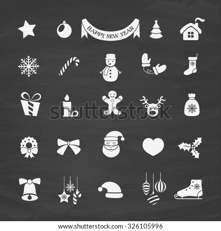 Christmas and New Year vector Icons set - stock vector