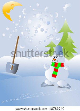 Christmas and New Year vector illustration with snowman - stock vector