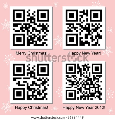 Christmas and New Year vector QR Codes collection for your design. - stock vector