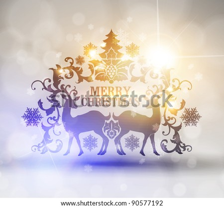 Christmas and New Years  postcard with silhouette of reindeers and frame for text EPS10 contains transparency - stock vector