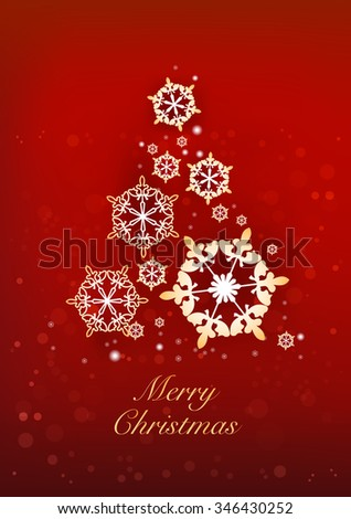 Christmas and New Years red background with Christmas Tree made of snowflakes. Vector illustration - stock vector