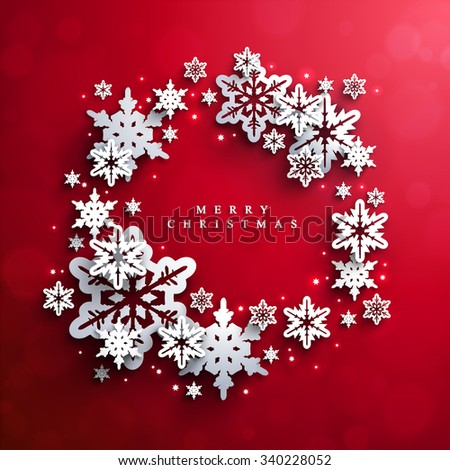 Christmas and New Years red background with Frame Made of paper snowflakes