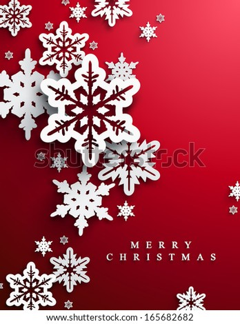 Christmas and New Years red background with paper snowflakes  - stock vector