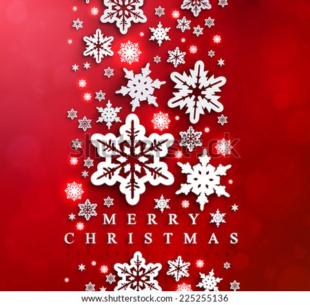Christmas and New Years red background with paper snowflakes. - stock vector