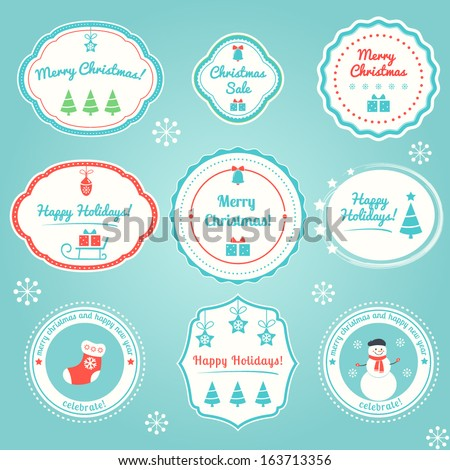Christmas and Winter Holidays Labels Set - stock vector