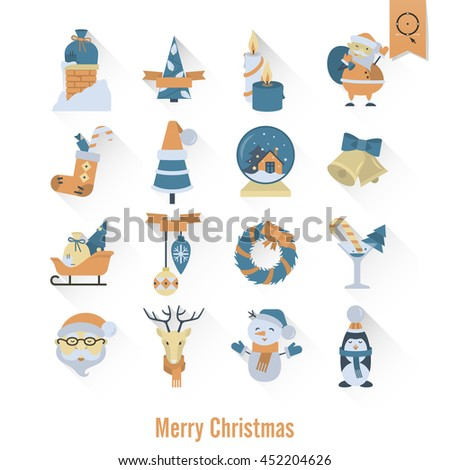 Christmas and Winter Icons Collection. Retro Color. Long Shadow. Simple and Minimalistic Style. Vector - stock vector