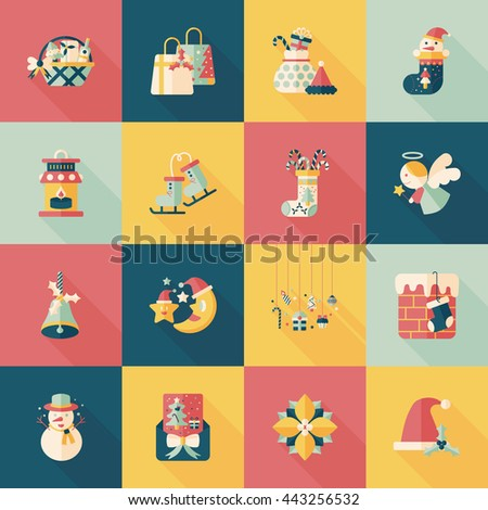 Christmas and winter icons set - stock vector