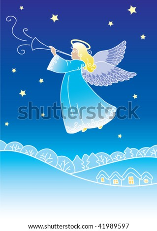 Christmas angel - stock vector
