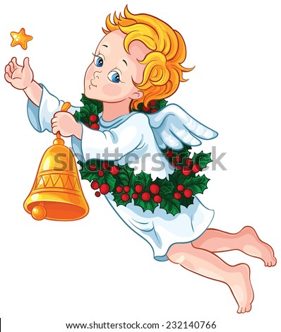 Christmas angel. Also available outlined version - stock vector