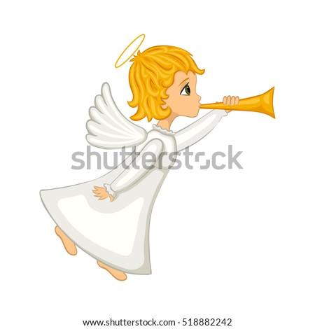 christmas angel blowing horn isolated cartoon stock vector 518882242 rh shutterstock com White Angel with Trumpet Background Christmas Angel with Trumpet Clip Art
