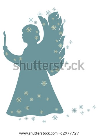 Christmas angel with a candle - stock vector