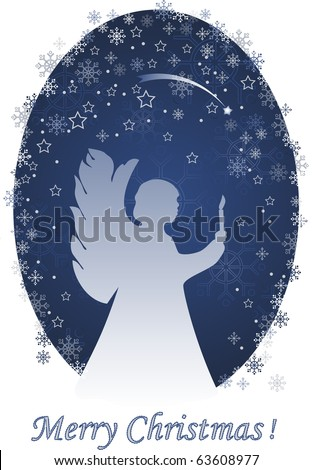 Christmas angel with a candle, greeting card
