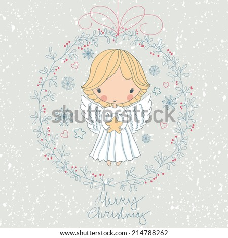 Christmas angel with a star - stock vector