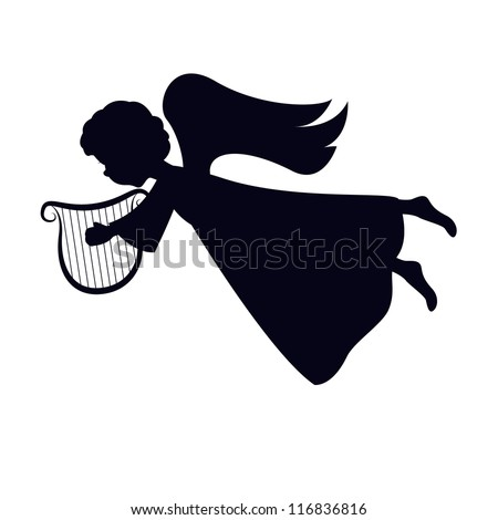 Christmas Angel with harp on white background - stock vector