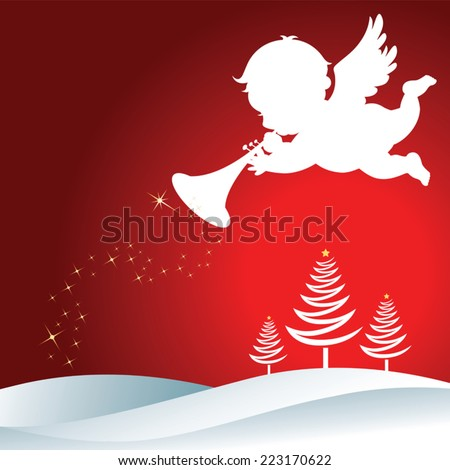 Christmas Angel with trumpet. Christmas Angel with trumpet Silhouette on Christmas background. - stock vector
