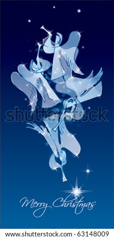 Christmas Angels on a blue background. Classical figures from a paper. Vector illustration. - stock vector
