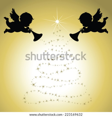 Christmas Angels with gold background - stock vector