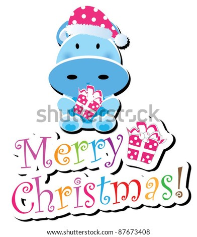 Christmas animal icon-(cow version),more animals are available - stock vector
