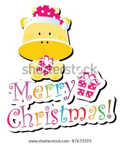 Christmas animal icon-(giraffe version),more animals are available - stock vector