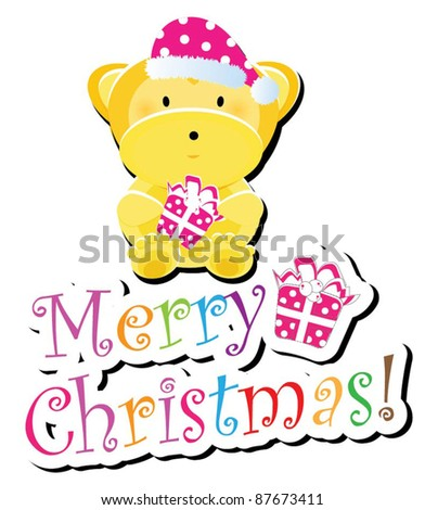 Christmas animal icon-(monkey version),more animals are available - stock vector