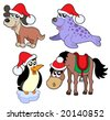 Christmas animals collection 1 - vector illustration. - stock photo