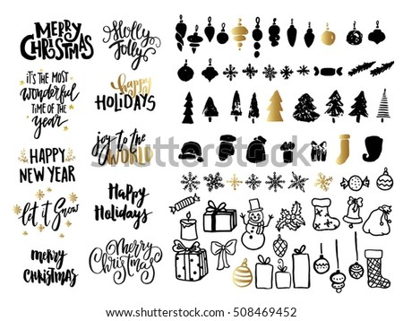 Christmas ans New Year design set. Holiday decoration elements: noel, balls, snowflakes, gifts. Hand written lettering. For cards, posters, banners, tags.