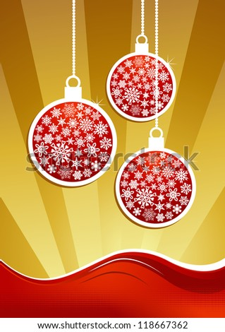 Christmas applique in gold and red background. Vector illustration layered for easy manipulation and custom coloring.